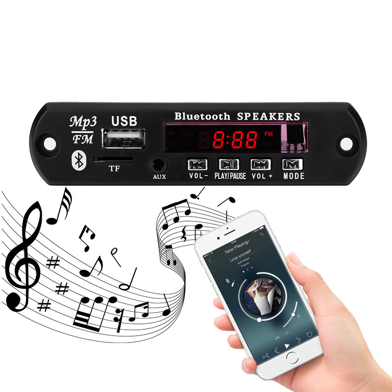 <font><b>MP3</b></font> Drahtlose <font><b>Bluetooth</b></font> Auto Audio Empfänger <font><b>Decoder</b></font> <font><b>Modul</b></font> USB 3.5mm AUX TF FM Radio <font><b>Player</b></font> Musik <font><b>MP3</b></font> WMA 5V 12V <font><b>Decoder</b></font> Board image