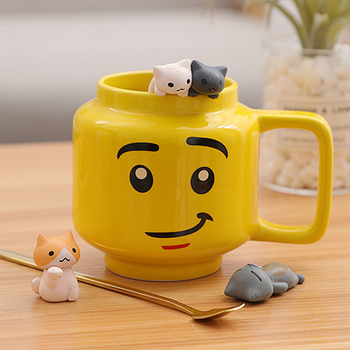 250mL Ceramic Cup Lego Mugs Smiling Expression Face Cartoon Coffee Milk Tea Mugs Cute Drinkware Water Holder For Friend Kids