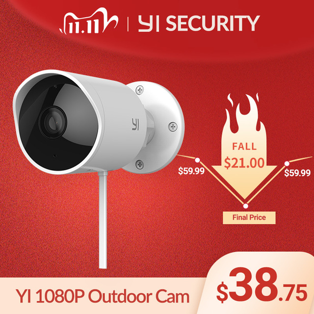 YI CCTV IP Camera Outdoor HD 1080P Waterproof Night Vision Wireless 2.4G Wifi Security Cam Surveillance System Global Cloud