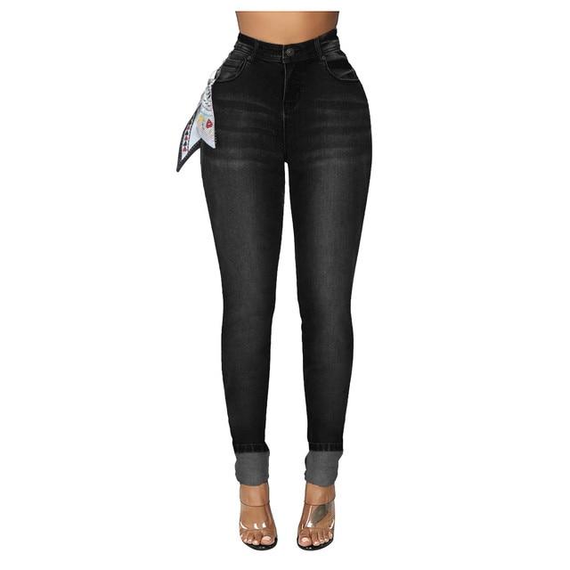 DAIGELO Women's Jeans Fashion Women High Waist Denim Pants With Silk Scarf Pocket Jeans Pencil Trouser Female Denim Jeans 2020 3