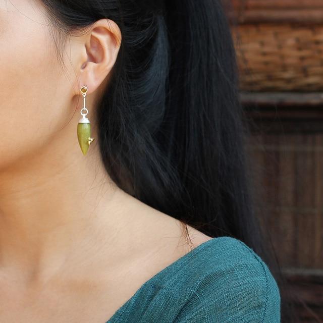 Natural Tourmaline Olive Jade Earrings2