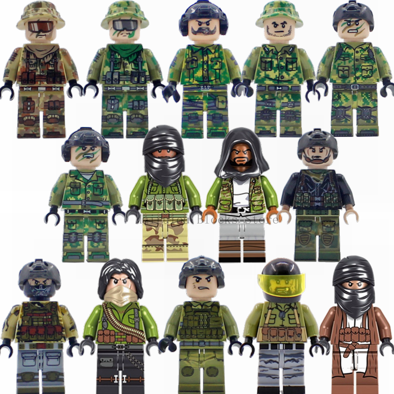 Military Blocks Special Forces Soldiers Commando Action Figures Building Block Model Compatible With Weapon Guns Arms Swat Toys