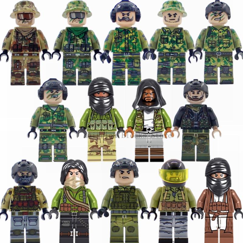 Militaire Blokken Special Forces Soldaten Commando Actiefiguren Bouwsteen Model Compatibel Met Wapen Guns Armen Swat Speelgoed