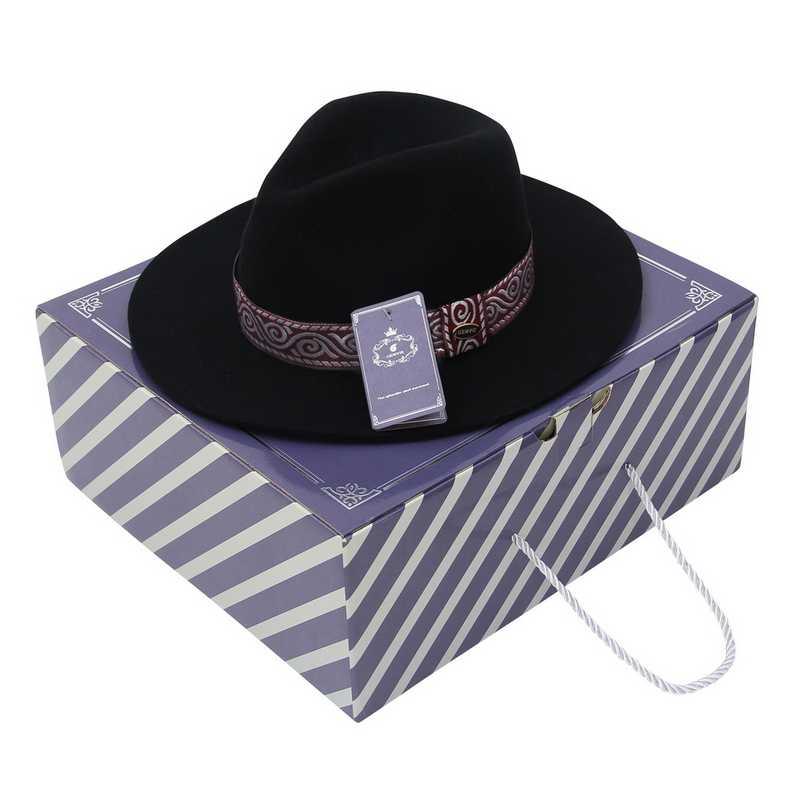 GEMVIE กว้าง Floppy Brim ขนสัตว์ 100% ผู้หญิงหมวก Fedora ฤดูหนาว Felt หมวกหมวกลายชาติพันธุ์ Band ฤดูใบไม้ร่วงหมวกแจ๊ส