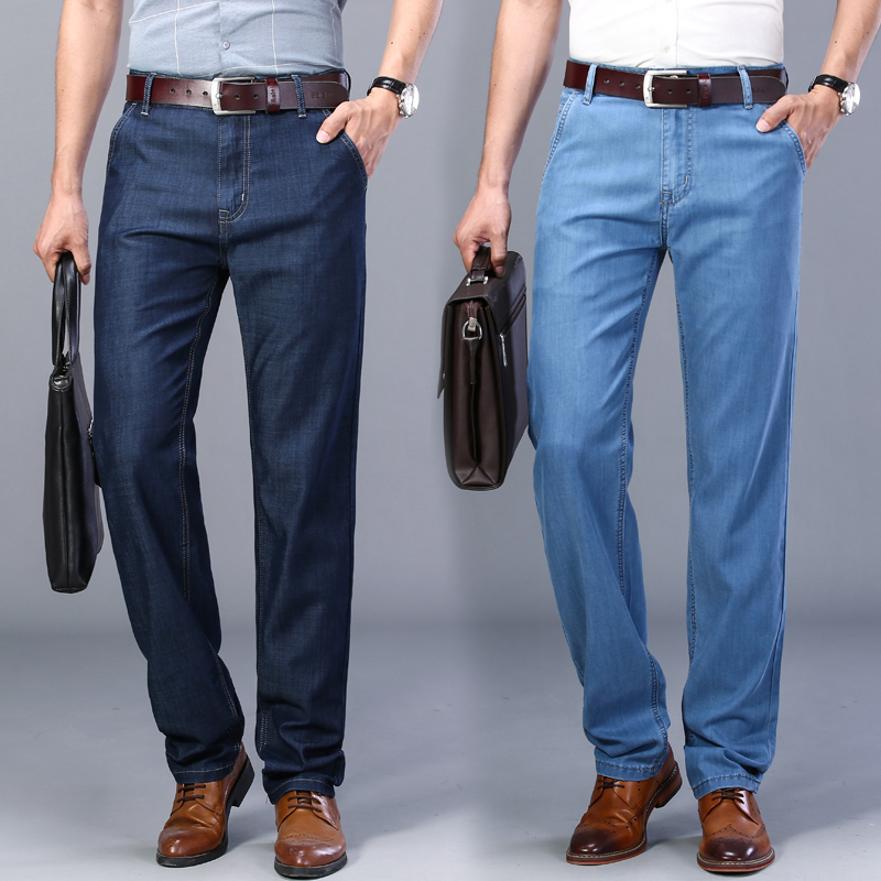 Denim Pants Trousers Jeans Straight Summer Elastic Casual High-Quality Brand New Comfort