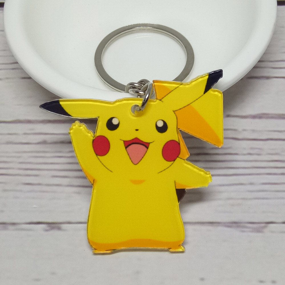 Acrylic Anime Cartoon Pokemon Go Pikachu Keychain Pocket Monster Pendants Key Chains Souvenirs Llavero Chaveiro