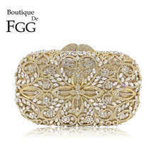 Boutique De FGG Aushöhlen Frauen Gold Kristall Metall Kupplungen Schminktäschchen Handtasche Diamant Abend Taschen Braut Hochzeit Kupplung Tasche