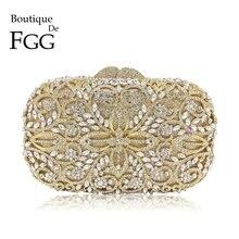 Boutique De FGG Hollow Out Women Gold Crystal Metal Clutches Minaudiere Handbag Diamond Evening Bags Bridal Wedding Clutch Bag