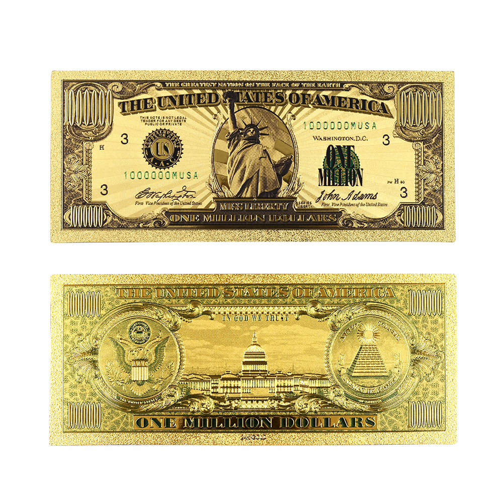 Paper Money US Gold Banknotes USA Gold Foil 1 Million Dollar Bill Note Gold Banknote Collection Home Decor