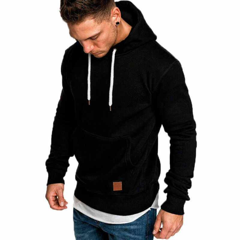 Meihuida Autumn Fashion Hot Men Casual Hoodie Warm With Pocket Pullover Soft Cotton Hooded Solid Sports Running Wear