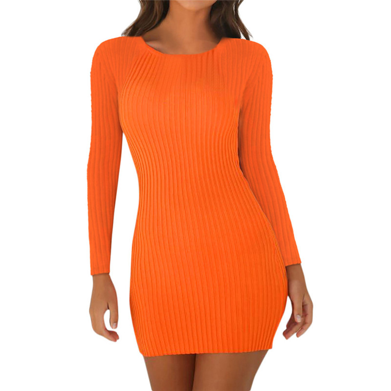 Women Long Sleeve O-Neck Package Hips <font><b>Sexy</b></font> Mini Autumn <font><b>Dresses</b></font> Knitted Vestidos <font><b>Orange</b></font> Black Red Party Bodycon <font><b>Dress</b></font> High Waist image