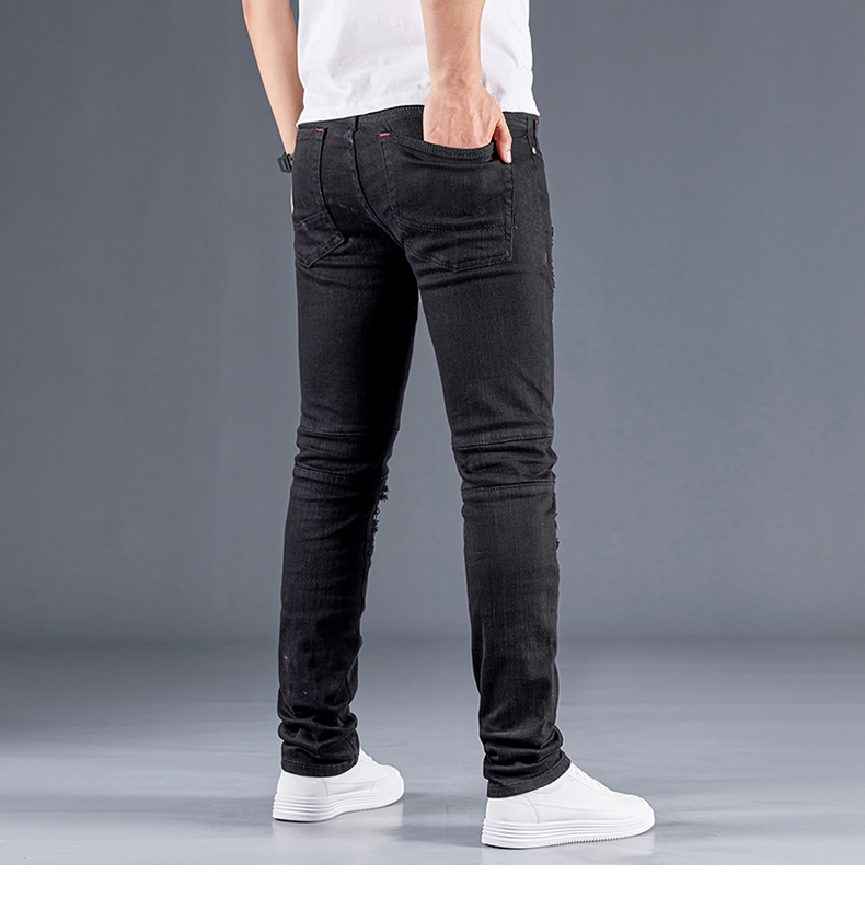 Black Ripped Jeans Men With Print Colored Slim Fit Stretch Patchwork Distressed Hip Hop Pants Man