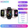 Оригинальный Смарт-браслет Honor Band 6, водонепроницаемые Смарт-часы с сенсорным экраном AMOLED, пульсометром и монитором уровня кислорода в крови...