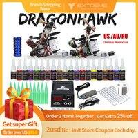 Beginner Complete Tattoo Kit Supplies 2 Machine Guns 20 color Inks Power supply Needles Grip Tip Set