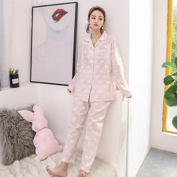 New Postpartum Nursing Clothes Summer Pure Cotton Gauze Confinement Clothing Baiyun Rabbit Pregnant Women Pajamas Maternal Feedi