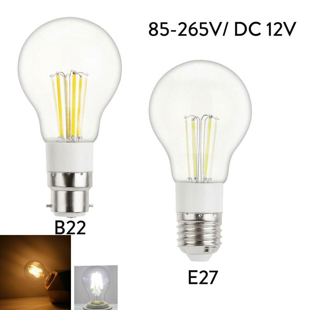 LED Bulb E27 Filament Light B22 3W 4W 6W LED Lamp 110V 230V 240V 220V DC 12V COB LED Filament Light Decoration Lamp