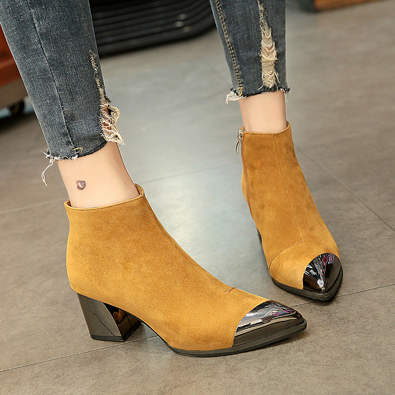 2020 New Square Heel Boots Women Winter Chelsea Boots Warm Shoes Pointed Toe Sexy Ladies High Heels Boots Women's Ankle Botas