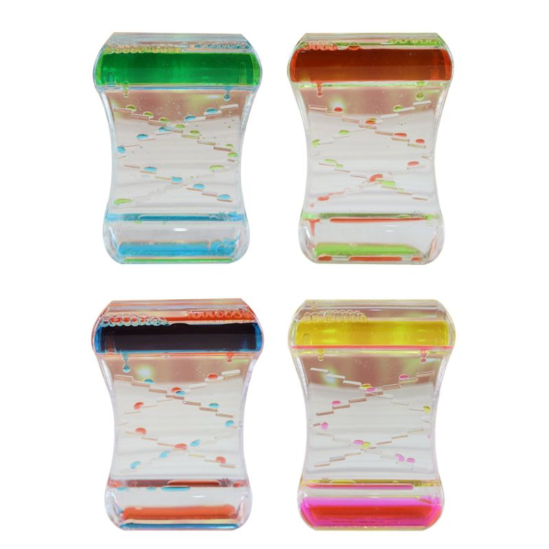 Color Sand Hourglasses Floating Oil Liquid For Sensory Acrylic Desk Ornament