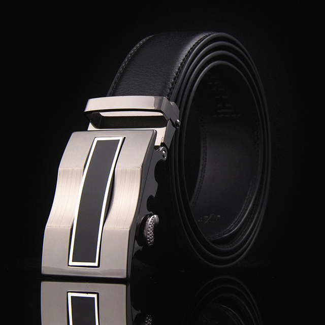 Mens Leather Quality Automatic Buckle Black Belts Cummerbunds Cinturon Belt 4