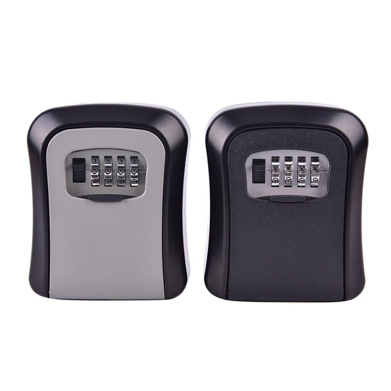 Key Lock Box Wall Mounted Aluminum Alloy Key Safe 4-digit Password Storage Box Weatherproof  Outdoor