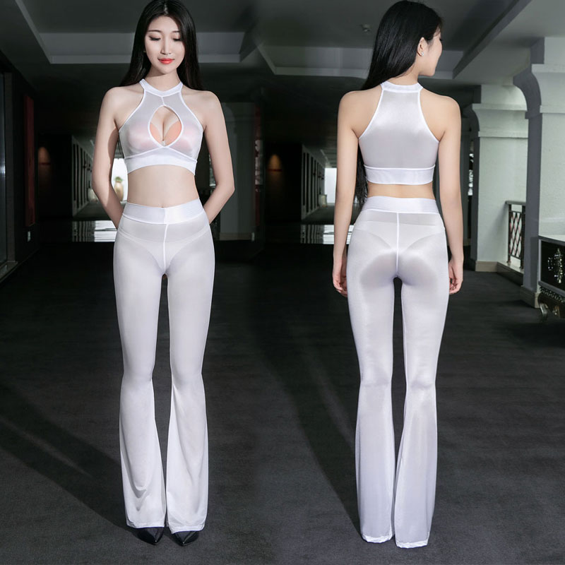 Sexy Women Shiny Flare Pants Elasticity Smooth Sexy Hips Capris High Waist Sheer See Through Sexy Tight Candy Color Plus Size F2
