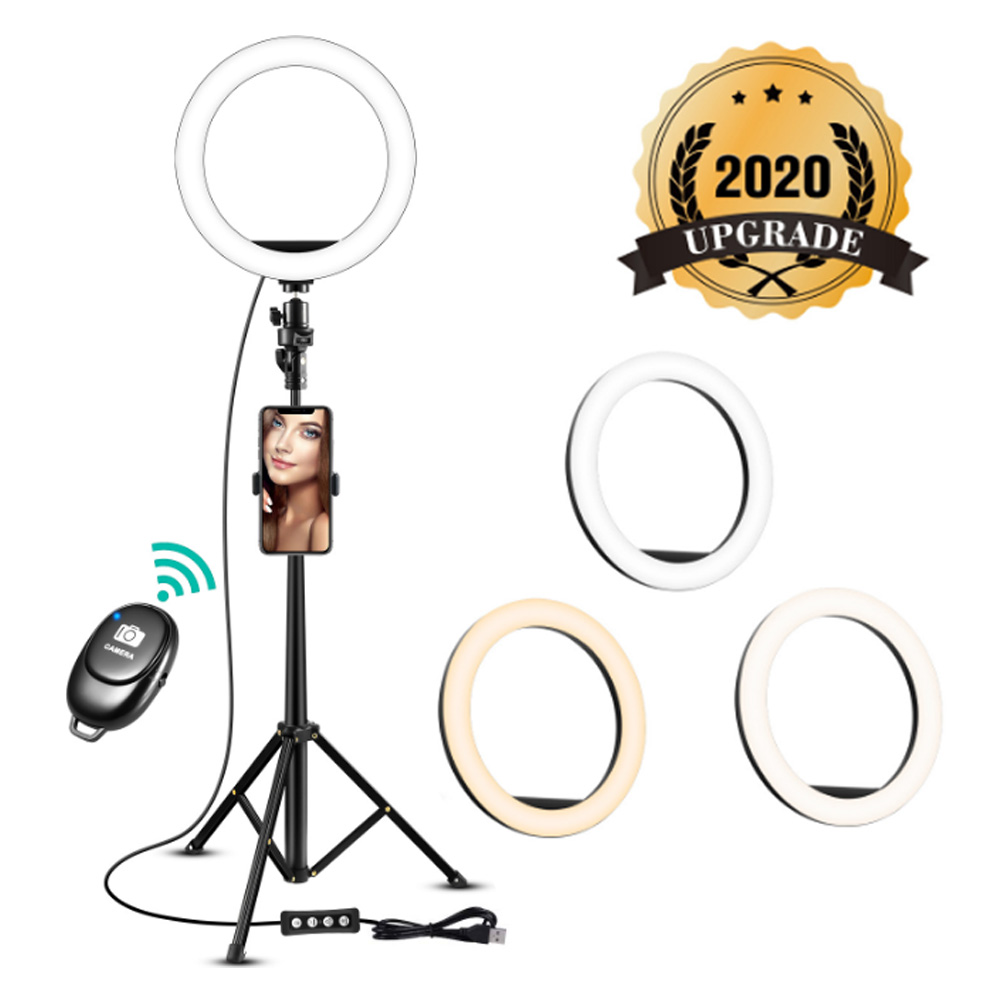 8 Inch Selfie Ring Light With Tripod Stand For Video Tik Tok Youtube Makeup Online Course  Holder Camera Phone Clip Studio