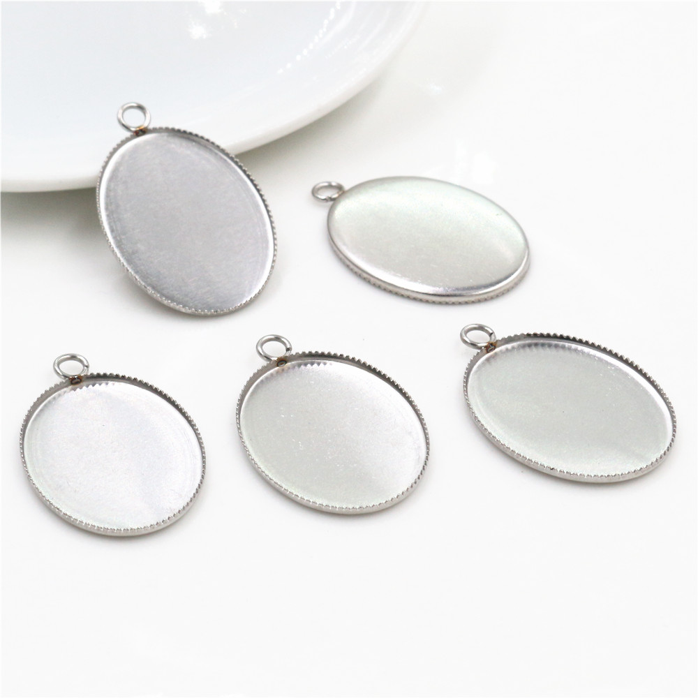 ( Never Fade ) 10pcs 18x25mm Inner Size Stainless Steel Material Simple Style Cabochon Base Cameo Setting Pendant Tray (C1-46)