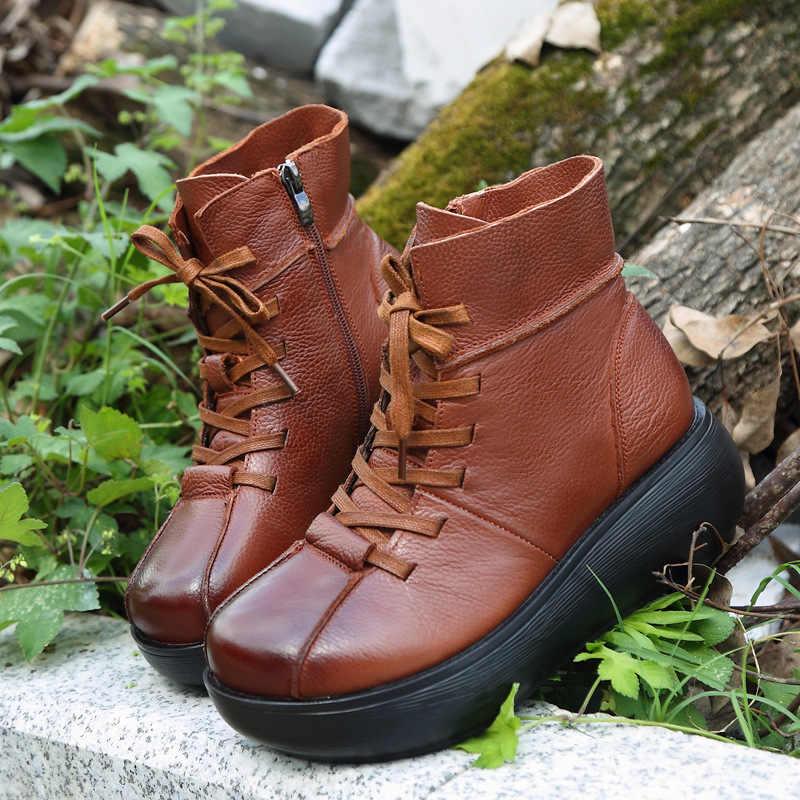 GKTINOO yeni hakiki deri yarım çizmeler kadın düz kar dantel-up çizmeler kış sıcak peluş su geçirmez kadın platform ayakkabılar