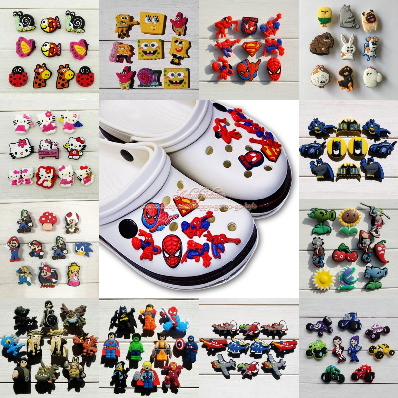9-10pcs/set Pets Sponge Spider Man Kitty Mario Shoe Charms Shoe Accessories For Kids Croc Jibz Fit Silicone Bands Croc Charms
