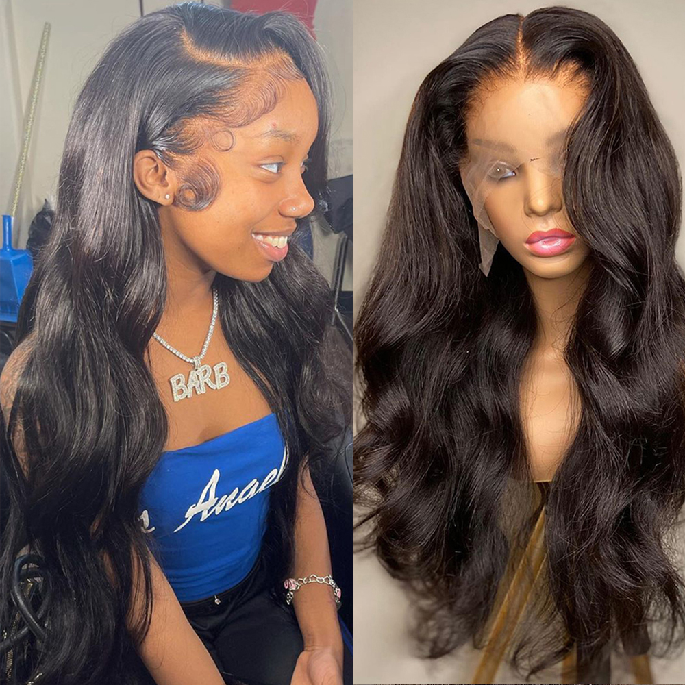 Body Wave Lace Front Human Hair Wigs Transparent Lace Frontal Wig 1