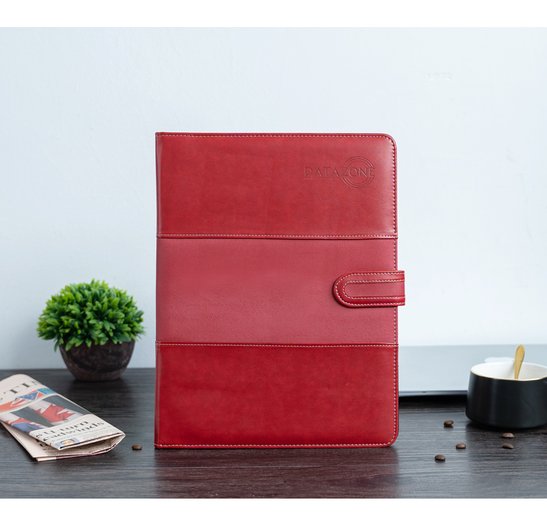 A4 Document Folder A4 Padfolio PU Leather With Redcover Office School Supply File Folder Padfolio With Calculator Folder Manager