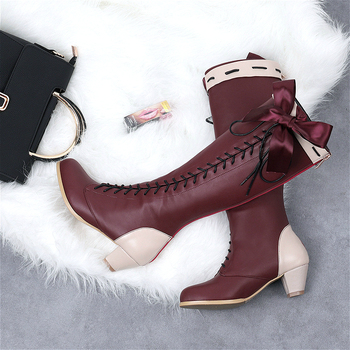 Violet Evergarden Lolita Boots Shoes Cosplay Custom-made Ladies Fashion Leisure Cartoon Bow Pu Leather Loli - discount item  13% OFF Costumes & Accessories