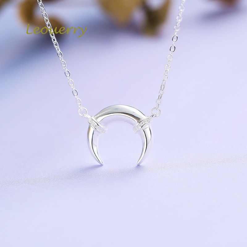 Leouerry 925 prata esterlina crescente pingente colar de prata curto corrente colares feminino senhoras jóias presente aniversário