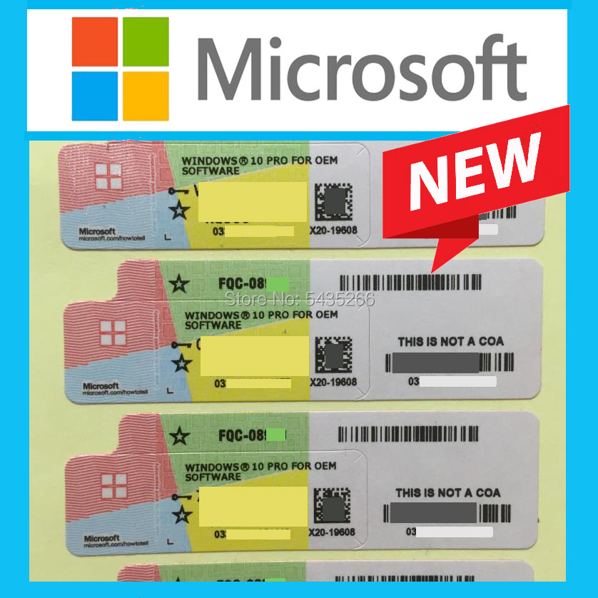 Microsoft Windows 10 Pro Key OEM COA Sticker Label Win 10 Professional Working Lifetime License Online Activation Software