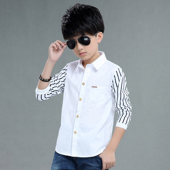 Koszula dla chłopców z długim rękawem szkolni chłopcy koszula wizytowa dla dzieci odzież dla dzieci dla dzieci chłopcy koszula z kołnierzykiem formalne koszulki urodzinowe tanie i dobre opinie LUOBOBEIBEI Moda COTTON L271 Teenager Kids Boys Formal Party Clothing REGULAR Pasuje prawda na wymiar weź swój normalny rozmiar