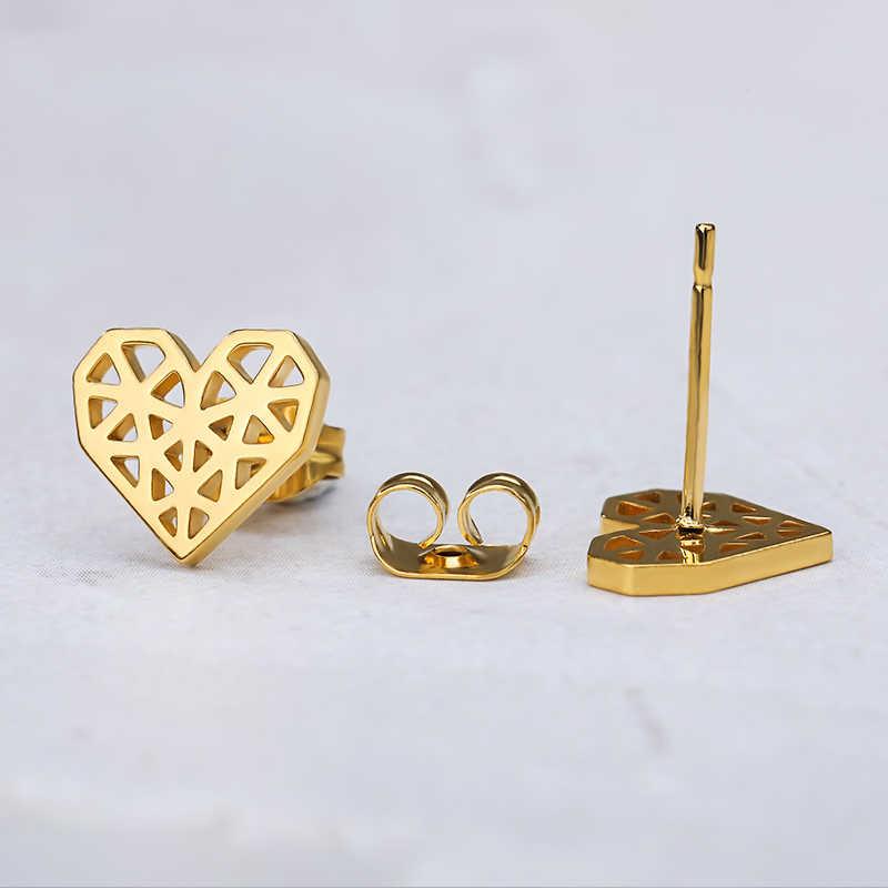 หญิงต่างหูสีทอง Minimal Origami Heart ต่างหูแฟชั่นเครื่องประดับอุปกรณ์เสริม BFF คริสต์มาสของขวัญ