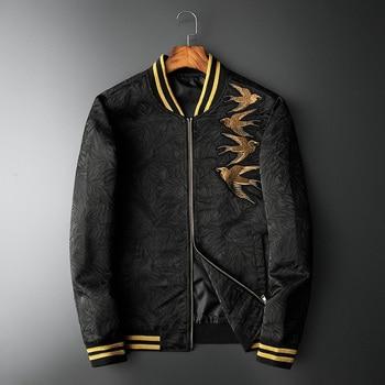 New Men luxury Rib Sleeve Embroidered Flowers Bird Striped couple Baseball Coats & Jackets Abstract digital coat Motor #N241