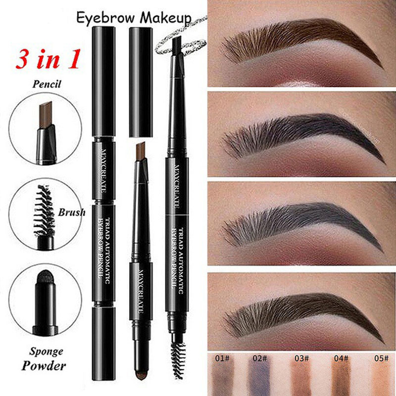3 In 1 Black <font><b>Eyebrow</b></font> Pencil Waterproof Long Lasting No Blooming Rotatable Triangle Automatic Eye Brow Brown <font><b>Tatoo</b></font> <font><b>Pen</b></font> image