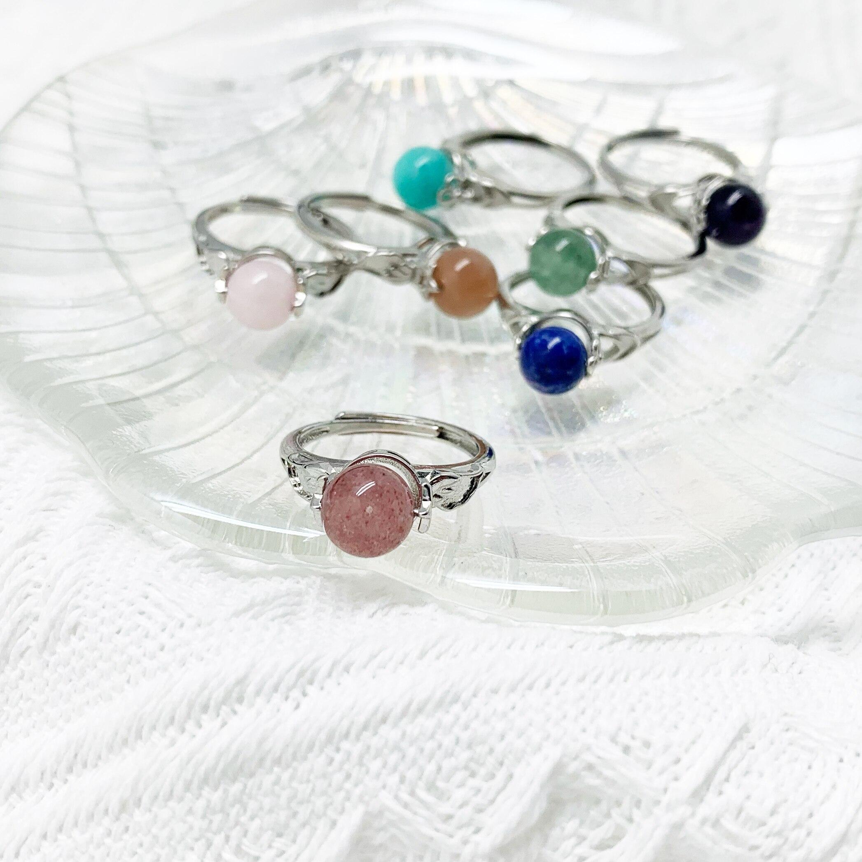 Открытые Кольца Momiji с кристаллами для женщин, вращающиеся круглые кольца из натурального камня с бусинами, регулируемое свадебное кольцо с ...