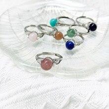 Momiji cristal aberto anéis para mulher rotatable natural pedra redonda grânulo anéis ágata opal jade anel de festa de casamento ajustável