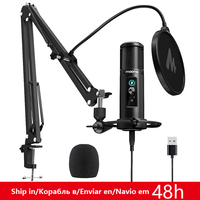 MAONO PM422 USB Microphone Zero Latency Monitoring 192KHZ/24BIT Professional Cardioid Condenser Mic with Touch Mute Button