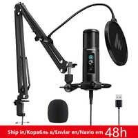Micrófono USB MAONO PM422, monitoreo de latencia cero, micrófono condensador cardioide profesional de 192KHZ/24 bits con botón de silencio táctil