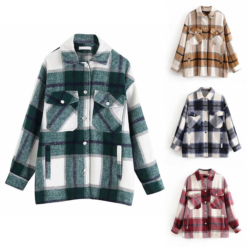 Plaid Overshirt Wool Blend Jacket Vintage Stylish Pockets Fashion Lapel Collar Long Sleeve Coat Casual Ladies Jacket Chic Tops