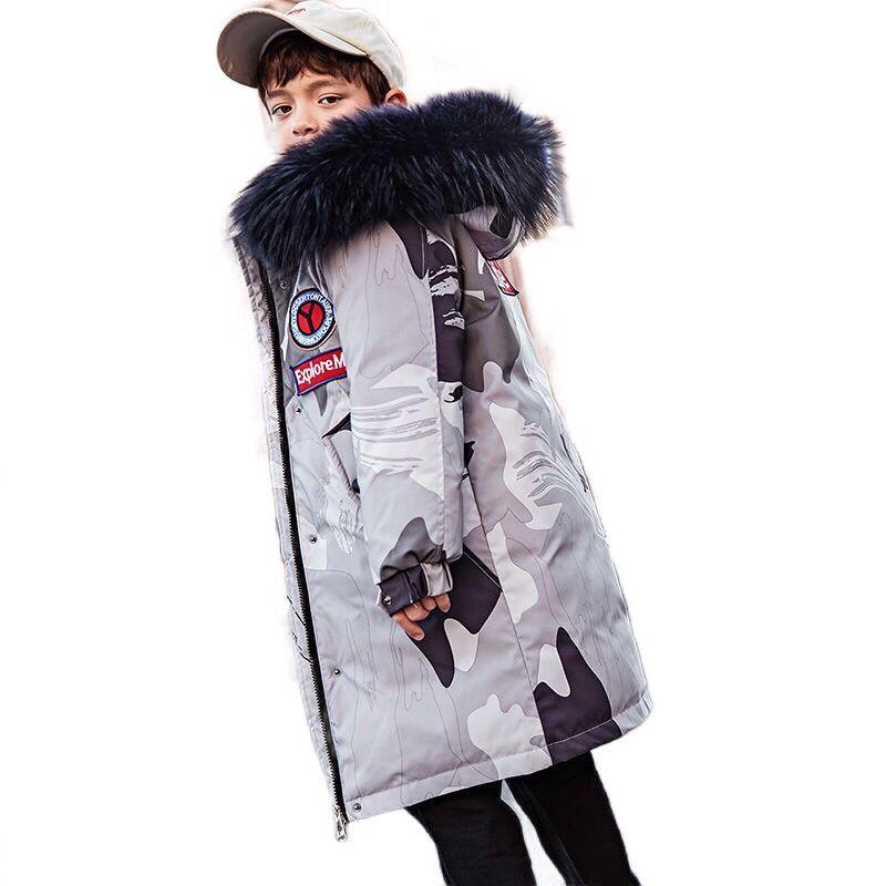New Camouflage Winter Down Jacket For Boys Thicken Warm Big Fur Collar Children Boys Winter Coat 14 16 Years Kids Teenage Parka