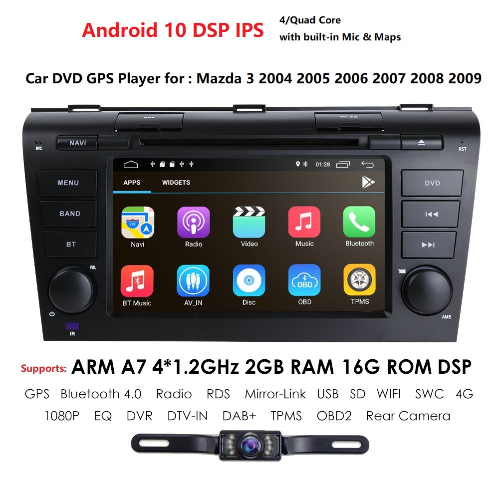 Car Multimedia Radio Player For <font><b>Mazda</b></font> <font><b>3</b></font> BK Mazda3 2004-2009 Android 10 <font><b>Navigation</b></font> Autoradio Tape Recorder <font><b>GPS</b></font> Video Stereo DVD image