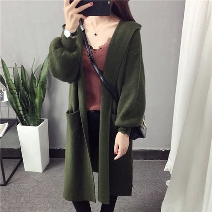 New 2020 Autumn Winter Knitted Sweater For Women Long Cardigan Loose Coats BF Hooded Warm Thick Female Outwear LX1357