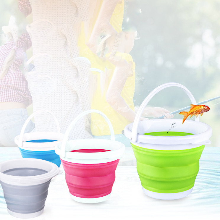 Fashion 3/5/10L Folding Silicone Collapsible Bucket Camping Outdoor Fishing Pot Durable Household cleaning 3 Colors Optional