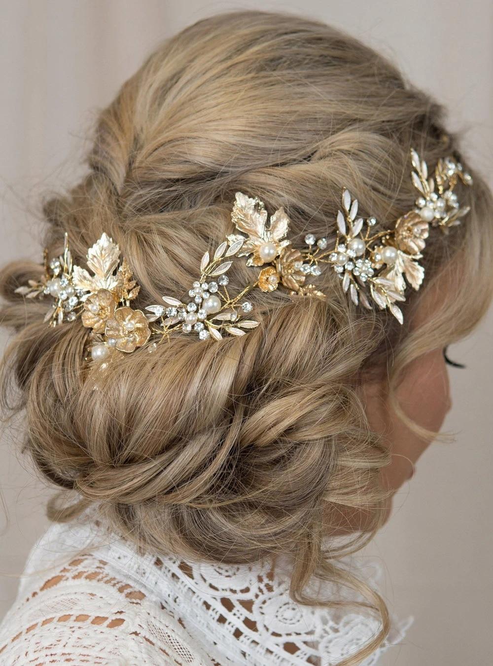 Gold leaf crown Boho crown Gold headpiece Golden tiara Bridal crown Wedding hair piece Leaves hair piece Gold hair vine Autumn wedding crown