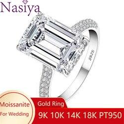 Pełnymi kamieniami mała biżuteria ślubna pierścień 6X8MM Emerald Cut Moissanite pierścionek zaręczynowy dla kobiet 9K 10K 14K 18K PT950