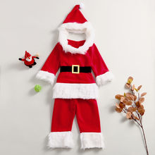 winter baby clothes soft warm Baby Girls Boys Christmas Santa Cosplay Tops Pants Hat Belt Set Outfits Christmas clothes for baby(China)